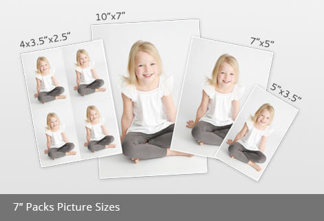 7 inch packs picture sizes